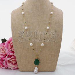 Grüne jade perlenkette online-N090606 26 '' Weißer Reis Perle Grün Kristall Kette Halskette Keshi Perle Anhänger J190618