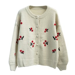 girls cardigans pearls Coupons - Cherry embroidery Pearl buckle Cardigan sweater mori girl 2018 autumn winter