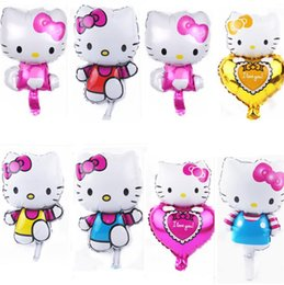 2019 hola juguetes Mini kt Gato Globo Abrazo Katie Tiaotoe kt Película de Aluminio Globo Hello Kitty Series Juguete de Dibujos Animados Globo Decoraciones de Fiesta I520 hola juguetes baratos