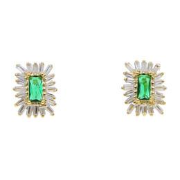 Orecchini cubiti di zirconi verdi online-2019 moda semplice geometrica scintillante cz bianco verde cubic zirconia orecchini donna signora ragazza gioielli design regalo alla moda