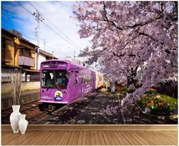 cherry blossom murals Promo Codes - 3d wallpaper custom photo mural Train cherry blossom TV background wall home decor living room 3d wall murals wallpaper for walls 3 d