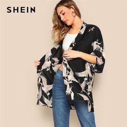 1bbb9906ea4 cranes birds Coupons - SHEIN Bohemian Black Crane Bird Print Side Slit Long  Kimono Cardigan Women