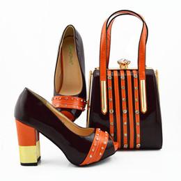 совпадение Скидка 2019 последние коричневого цвета африканские туфли с подходящими сумками для свадьбы итальянский летний стиль женщины свадебные туфли и сумочка набор