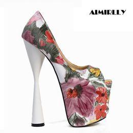 tacchi alti da 19 cm Sconti Aimirlly Women Shoes Peep Toe Sky tacchi alti pompe della piattaforma Ladies Party Clubwear Dress tacchi sexy 19CM
