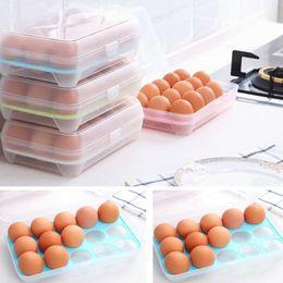 Caixa da caixa do ovo on-line-15 Ovos De Plástico Geladeira Egg Storage Box Titular Recipiente De Armazenamento De Alimentos Caso