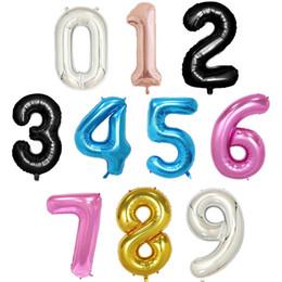 Decorações de festa rosa preto e prata on-line-40 polegada rose gold silver rosa azul preto tamanho grande número folha de balões de hélio festa de aniversário celebração decoração grande globos