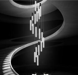 colgante acrilico luz para oficina Rebajas Personalidad creativa Proyecto personalizado decoración de interiores acrílico TUBO Forma escalera de caracol frente de la oficina bar arte luces colgantes LLFA