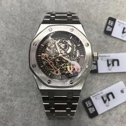 Nuevos relojes de color online-2019 Nuevo reloj automático para hombre llegado ROYAL OAK 15407ST.OO.1220ST.01 Serie 41MM Dial esqueleto multicolor reloj de pulsera para hombre
