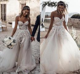 романтические линии Скидка 2019 Boho летний пляж свадебные платья милая кружева аппликации пляж свадебные платья для свадеб дешевые на заказ свадебные платья