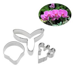 Zucchero biscotto decorante fondente online-3pcs / set in acciaio inox farfalla orchidea fiore zucchero torta stampo fai da te fondente biscotti strumenti di decorazione