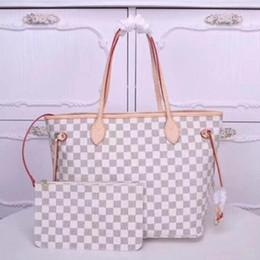 2019 контрактные мобильные телефоны Женская сумка для покупок Luxury Boutique модного бренда из натуральной кожи с решеткой оригинальная женская большая емкость плечевая сумка набор из двух сумок