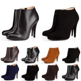 дизайнерские каблуки для женщин Скидка С коробкой мода роскошный дизайнер женские сапоги на высоких каблуках 8 см 10 см 12 см черный красный каштановый темно-синие ботинки кожаные зимние ботинки