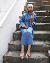 Vestidos casuales turcos online-2019 Islam casual abaya vestido de jeans de moda de niña musulmana ropa de mujer turca Demin Vestido abierto en el frente