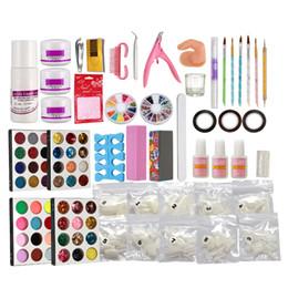 2019 kit puder leim nägel Pro Acryl flüssige Nail Art Pinsel Kleber Glitter Pulver Buffer Tools Set Kit Tipps rabatt kit puder leim nägel