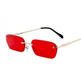 Rechteckige rahmenlose sonnenbrille online-Vintage Sonnenbrille Damen Herren Markendesigner Small Rectangle Rot Gelb Sonnenbrille Retro Shades Steampunk Frameless 3405