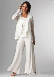 2020 damen weißes kleid hosen anzug Elegante weiße Chiffon-Dame-Mutter-Hosen-Anzüge Mutter der Braut Bräutigam-Mutterbrauthosenanzüge mit Jacke Frauen-Partei kleidet Hosenanzug günstig damen weißes kleid hosen anzug