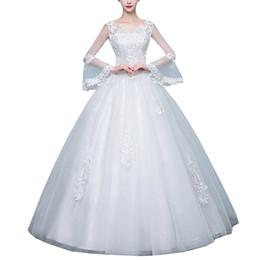 2019 Feito Pelo Cliente Branco Marfim Tule Longo Alargamento Da Luva Vestidos De Casamento Simples Applique Espartilho Vestido De Casamento Vestidos Robe De Mariage de