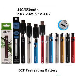 ect atomiseur Promotion ECT COS préchauffage batterie 650 mah vape cartouches kit torsion variable tension électronique stylo vaporisateur de cigarette pour atomiseur à huile épaisse