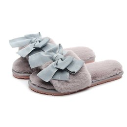 324d099ece9 Women Shoes Korean Version Of The Bow 2019 New Women Cute Fur Slippers  Autumn And Winter Indoor Home Plush Cotton Slippers