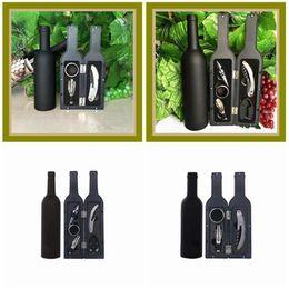 Insieme di regalo del tappo della bottiglia di vino online-Bottiglia 5Pcs 3Pcs Wine Bottle Opener Set Vino Rosso Cavatappi Tappi High Grade Vini accessori contenitore di regali ZZA1835