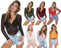 women white jumpsuit xl Promo Codes - Women Lace Jumpsuit Rompers long sleeve briefs Jumpsuit Spring Hollow out sexy t-shirt night club party clothes pure color S-XL