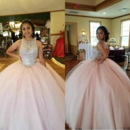 Tulle cristal quinceanera en Ligne-2020 Rose Crystal Top Quinceanera Jewel Sexy robe de bal Tulle Vestidos 15 anos douce 16 robes de bal ouvert Durée du sol Taille Plus