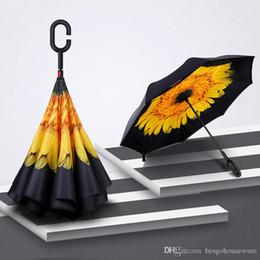 guarda-chuvas compactos grossistas Desconto 18 Estilo Impresso reverso Umbrella Double Layer Com Guarda-chuvas C Handle reversa Windproof guarda-chuva dobrável ensolarado chuvoso Umbrella BH1692 TQQ