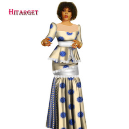 454d901e42 Hitarget 2018 New African Wax Print Clothes for Women Dashiki Traditional Cotton  Top Skirt Set of 2 Piece Dashiki Dress WY2936