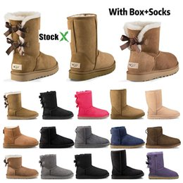 resin ivory Coupons - 2020 New designer boots Australia women girl classic snow boots bowtie ankle short bow fur boot for winter black Chestnut fashion size 36-41