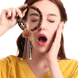 2019 projetos do keychain para meninas Novo Design PU Keychain Pulseira Chaveiro Grande pulso de couro pulseira borla Titular da chave Para Mulheres Meninas bolsa carteira Decoração M172Y