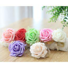 2019 bolsas de alfombra al por mayor Imagen real Barato rosa novia dama de honor muñeca flores suministros de boda cinta Flores de boda para accesorios de boda Flor de baile
