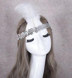 Penas de avestruz para fitas on-line-Lantejoula Ostrich Resina Gem Feather Headband Máscara partido Dança hairband Cosplay índios Props favores do partido