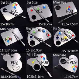 mix-palette Rabatt Edelstahl Farbe Palette Farbe Tablett Mischstab Spatel Set Für Nail Art Lack Versorgung Schulbedarf Aquarell Ölgemälde Make-up