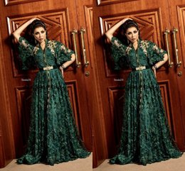 2019 ocasião abaya dubai 2020 Dubai Caçador Árabe Verde Formal Vestidos de Noite com Manga Comprida Muçulmano Kaftan Abaya 3D Floral Lace Ocasião Prom Vestido desconto ocasião abaya dubai