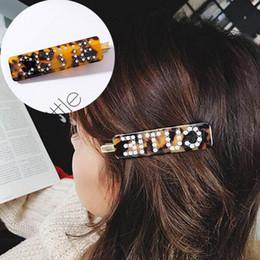 Argentina Moda coreana de lujo Crystal Rhinestone pinzas para el cabello Leopardo acrílico horquilla accesorios para el cabello para mujeres cartas Headgrip Headwear cheap rhinestone acrylic letters Suministro