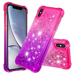 Casi di glitter iphone6 online-Per iPhone6 ​​6s 7 8 Plus X XS XR Max Luxury Glitter Quicksand Shiny Bling Diamond Casse del telefono per Samsung Galaxy S8 S9 S10 S10 Plus S10 Lite