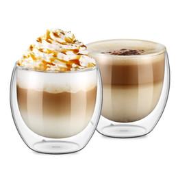 Set di 2 Bicchieri Bicchieri da Caffè Doppia Parete 250 millilitri / 8.5 Oncia Bicchieri Isolati Doppio Strato Bicchieri da Tè Latte Bicchieri Bicchieri da bicchieri di cristallo di cognac fornitori