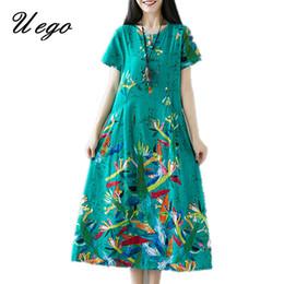 Le donne cinesi vestono stili online-Uego cotone lino abito estivo allentato moda stampa floreale stile cinese abito 2019 nuove donne arrivo casual vestito midi Y19052901