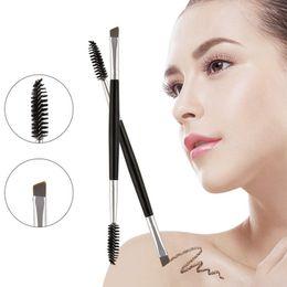 pinceles de maquillaje tipos de cabello Rebajas Vôsaidi Makeup Brush, Duo Eyebrow Brush Cepillo de cejas angulares de calidad premium y Spoolie Brush