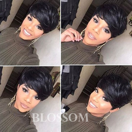 layered hairstyles medium hair Coupons - 100% Human Hair Layered Short Cut Wigs Black Hair Short Bob Glueless Pixie Cut Wigs for Women can be washed and curled