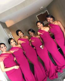 Um ombro designer vestidos de noiva on-line-Novo Designer Fucshia 2019 Bainha Vestidos de Dama de Honra Barato One Shoulder Sweep Train Vestido de Festa de Casamento Vestidos Formais Vestidos de Dama De Honra vestido