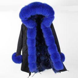 Abrigo de cuello de piel de zorro azul online-Beauitful Maomaokong marca Mujeres abrigos para la nieve Royal blue zorro forrado parka largo negro con capucha de piel de zorro con capucha Umbral