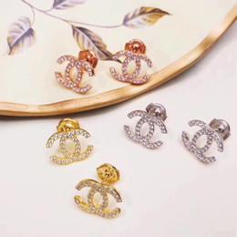 Top laiton marque nom boucle d'oreille de luxe avec diamant de logo forme goutte boucles d'oreilles femmes marque bijoux de mariage cadeau livraison gratuite P ? partir de fabricateur