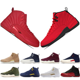 2019 chaussures d'aile 12 12s Gymnase rouge Michigan Bulls chaussures de basket-ball Vol international de grippe jeu Ailes Taxi hommes baskets de sport formateurs designer US 5.5-13 chaussures d'aile pas cher