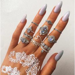 Conjuntos de jóias de girassol on-line-Livre DHL Do Vintage 12 Pçs / set Anel Set para Mulheres Meninas Gotas de Girassol Diamante Geométrica Oco Anéis Empilháveis Definido Para As Mulheres Jóias M276R