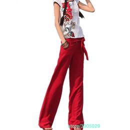 Gros Pantalon Lin Ligne Rouge En De Distributeurs rdCxWBoe