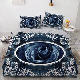 Rainha cobertor microfibra on-line-3D conjunto de cama personalizada Single Queen King Size 3PCS edredon cobrir Set Blanket / Quilt fronha Rose Home Textile microfibra