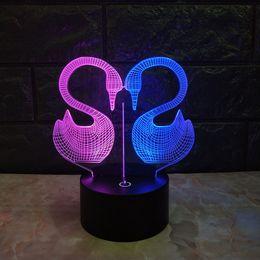 2019 красочные пластмассовые лампы Бесплатная доставка светящийся красочный лебедь 3D акриловые светодиодные ночники с подсветкой светодиодные пластиковые настольные лампы USB 3D светодиодные лампы дешево красочные пластмассовые лампы