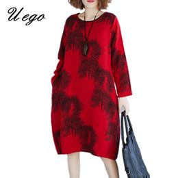 Uego Morbido cotone Lino manica lunga Autunno Dress Moda stampa floreale  Vintage Dress Plus Size Donne allentate Casual Midi abiti midi in lino  economici f436c37f15e