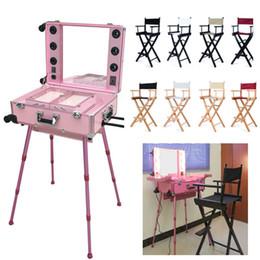 Leichte kastenstücke online-Beleuchtete Make-up Box Professional mit Friseursalon Stühlen Direktoren Make-up Stuhl Aluminium Strandkorb 8 Farben 2 Stück eingestellt